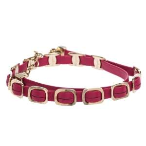 Salvatore Ferragamo Varini Pink Leather Gold Tone Double Wrap Adjustable Bracelet