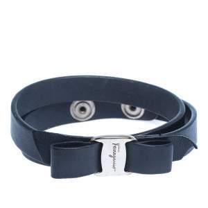 Salvatore Ferragamo Vara Bow Navy Blue Leather Silver Tone Double Wrap Bracelet