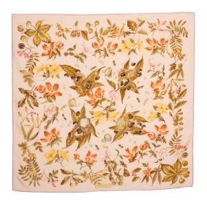Salvatore Ferragamo Light Orange Floral Print Silk Scarf