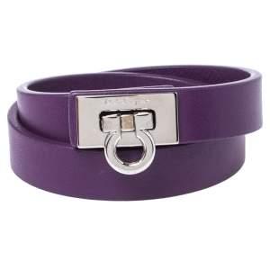 Salvatore Ferragamo Purple Leather Gancini Lock Double Wrap Bracelet