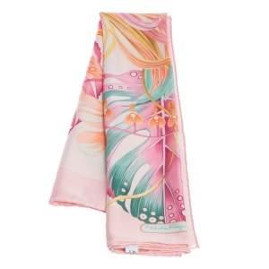 Salvatore Ferragamo Pink Floral Print Silk Scarf