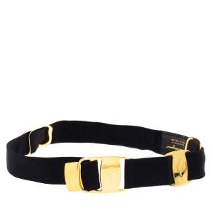 Salvatore Ferragamo Black Canvas Metal Link Belt 90CM