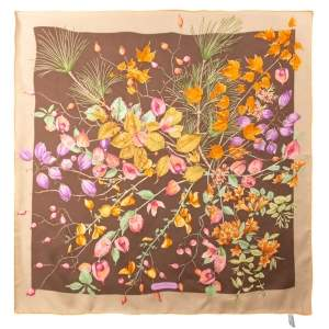 Salvatore Ferragamo Brown Fruit Print Silk Scarf