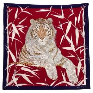Salvatore Ferragamo Burgundy Floral Tiger Print Silk Scarf