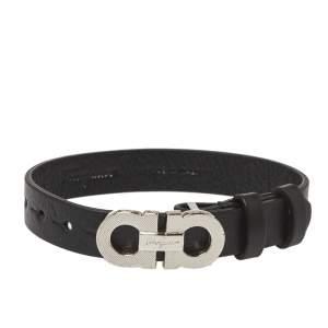 Salvatore Ferragamo Black Gancini Rigato Leather Bracelet