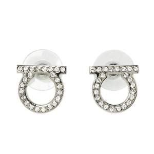 Salvatore Ferragamo Silver Tone Crystal Gancini Stud Earrings