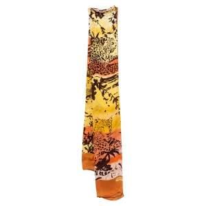 Salvatore Ferragamo Multicolor Tiger Landscape Print Silk Stole