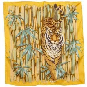 Salvatore Ferragamo Yellow Tiger Bamboo Print Silk Square Scarf