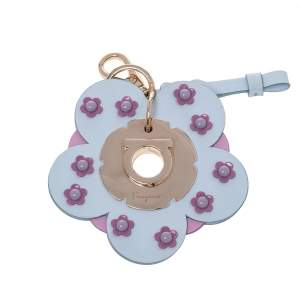 Salvatore Ferragamo Light Blue/Pink Leather Flower Bag Charm