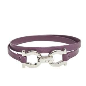 Salvatore Ferragamo Silver Gancini Purple Leather Wrap Bracelet