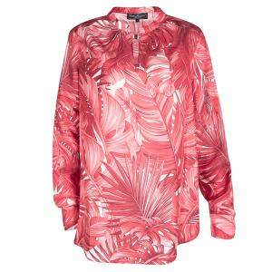 Salvatore Ferragamo Red Leaf Printed Silk Long Sleeve Blouse M