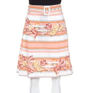 Salvatore Ferragamo Multicolor Printed Cotton Belted Pleated Skirt M