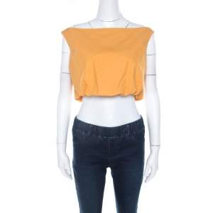 Salvatore Ferragamo Orange Cotton Bateau Neck Back Tie Up Detail Crop Top M