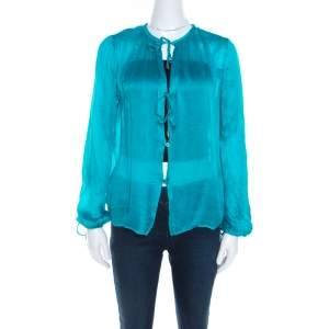 Salvatore Ferragamo Teal Blue Silk Plisse Long Sleeve Shirt S