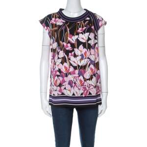 Salvatore Ferragamo Multicolor Floral Print Silk Ribbed Trim Blouse S