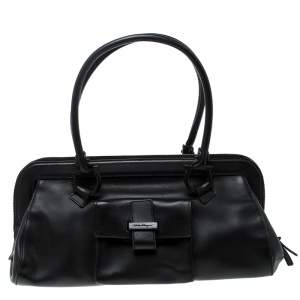 Salvatore Ferragamo Black Leather Frame Satchel