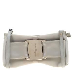 Salvatore Ferragamo Silver Satin and Leather Bow Crossbody Bag