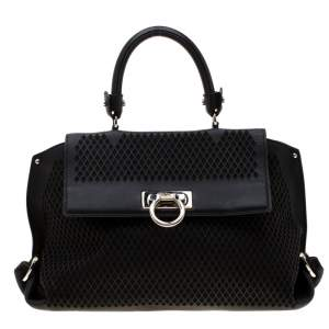 Salvatore Ferragamo Black Lasercut Leather Medium Sofia Satchel