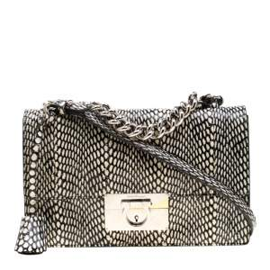 Salvatore Ferragamo Monochrome Snakeskin Print Leather Gancio Shoulder Bag