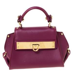 Salvatore Ferragamo Burgundy Leather Mini Sofia Crossbody Bag