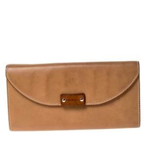 Salvatore Ferragamo Tan Leather Flap Wallet