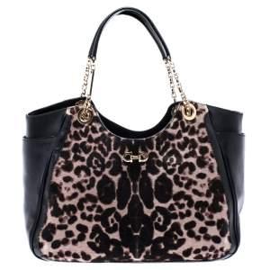 Salvatore Ferragamo Black/Brown Leopard Print Calfhair and Leather Betulla Tote