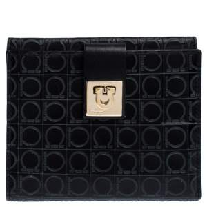 Salvatore Ferragamo Black Signature Leather Flap Compact Wallet