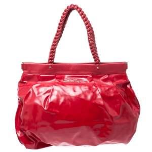 Salvatore Ferragamo Red Patent Leather Braided Handle Hobo