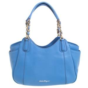 Salvatore Ferragamo Light Blue Leather Melinda Tote