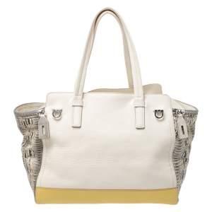 حقيبة يد سالفاتوري فيراغامو Verve جلد ثعبان وجلد متعددة الألوان