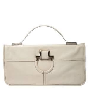 Salvatore Ferragamo Cream Leather Gancini Top Handle Bag