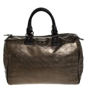 Salvatore Ferragamo Metallic Brown Gancini Embossed Leather Boston Bag