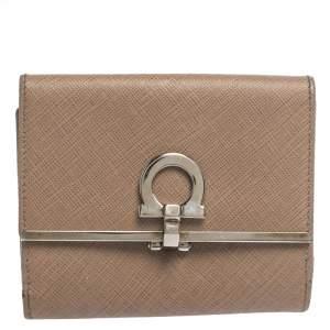 Salvatore Ferragamo Beige Leather Gancini Clip Compact Wallet