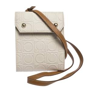 Salvatore Ferragamo White/Brown Gancini Embossed Leather Wallet Bag