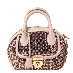 Salvatore Ferragamo Beige Sequin Embellished Mini Fiamma Satchel