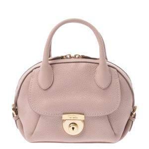 Salvatore Ferragamo Pink Beige Calfskin Leather Mini Fiamma Bag