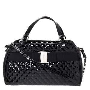 Salvatore Ferragamo Black Patent Leather Vara Bow Satchel