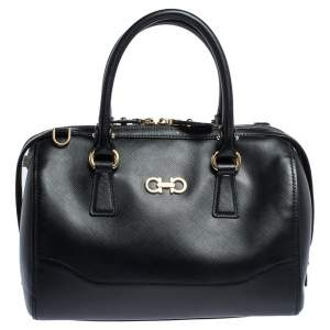 Salvatore Ferragamo Black Leather Gancini Boston Bag