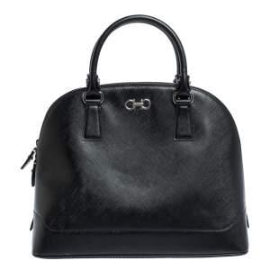 Salvatore Ferragamo Black Leather Batik Gancino Bag