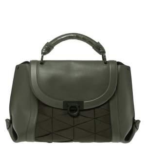 Salvatore Ferragamo Military Green Fabric and Leather Sofia Top Handle Bag