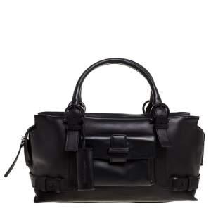 Salvatore Ferragamo Black Leather Front Pocket Satchel