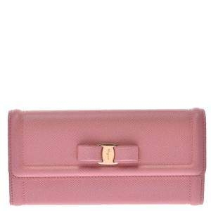 Salvatore Ferragamo Pink Leather Long Wallet