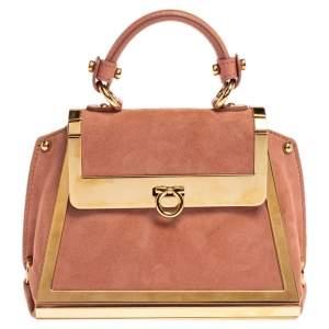 Salvatore Ferragamo Pink Suede and Metal Mini Sofia Top Handle Bag