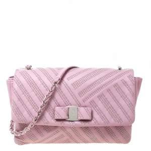 Salvatore Ferragamo Pink Studded Leather Ginny Shoulder Bag