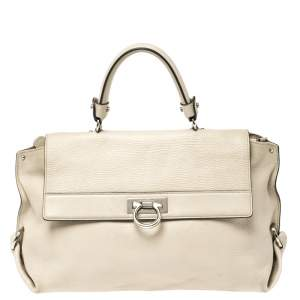 Salvatore Ferragamo Beige Leather Large Sofia Top Handle Bag