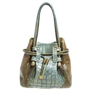 Salvatore Ferragamo Olive Green/Light Teal Alligator Bucket Bag