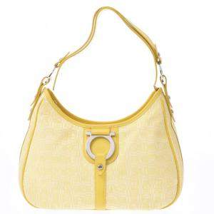 Salvatore Ferragamo Yellow Leather/Canvas Gancini Hobo Bag