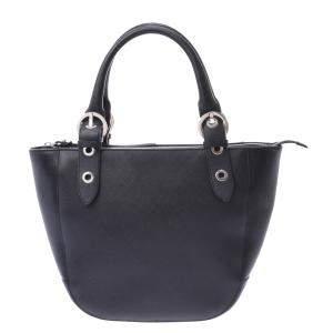 Salvatore Ferragamo Black Calf Leather Hardware Bag