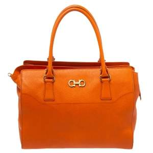 Salvatore Ferragamo Orange Leather Gancio Tote