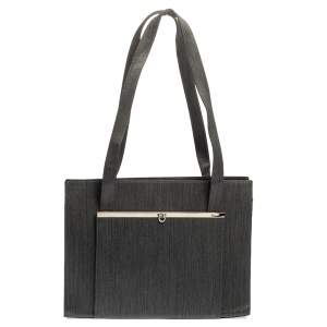 Salvatore Ferragamo Grey Fabric and Leather Pocket Bar Tote